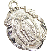 Vintage 14k Gold Virgin Mary Miraculous Medal Charm