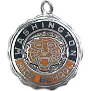 Vintage Washington High School Tigers Charm Sterling Silver with Enamel