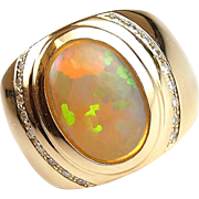 Exquisite 4.77 ctw Gents Ethiopian Welo Opal and Diamond Ring ~ 14k Gold