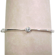 14k White Gold Bezel Set Diamond Hinged Bangle Bracelet 0.33 Carat