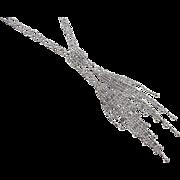 "Vintage 14k White Gold Bead Tassel Necklace ~ 17"""