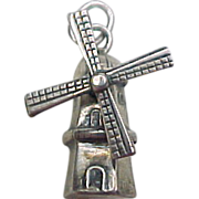 Vintage Sterling Silver Moving Windmill Charm