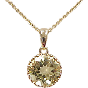 """Vintage 14k Gold Yellow Quartz Necklace ~ 15"""""""