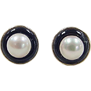 Vintage 14k Gold Onyx and Cultured Pearl Earrings