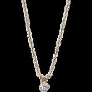 Vintage 14k Gold .10 Carat Diamond Necklace