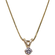 Vintage 14k Gold .12 Carat Diamond Solitaire Necklace