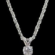 Vintage 14k White Gold .25 Carat Diamond Solitaire Necklace