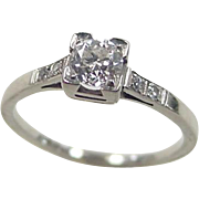 Art Deco 18k White Gold .33 Carat Diamond Engagement Ring