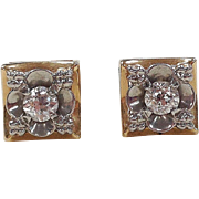 Art Deco 14k Gold Two-Tone .34 ctw Diamond Stud Earrings