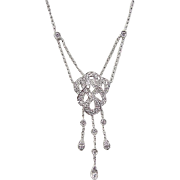 SALE Vintage 14k White Gold .50 ctw Diamond Scroll Lavalier Necklace