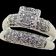 1950's 14k White Gold .74 ctw Illusion Set Diamond Wedding Set Rings