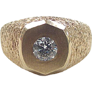 REDUCED Vintage 14k Gold Men's .80 Carat Diamond Ring