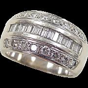 Vintage 14k White Gold Wide .62 ctw Diamond Band Ring