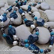 Adria: 2-Strand Blue Apatite, Turquoise, Peacock Cultured Keishi & White Cultured Biwa Pearl &