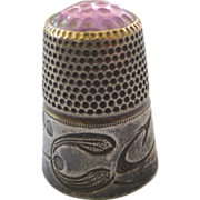 SOLD Arts & Crafts Sterling Amethyst Thimble - Red Tag Sale Item