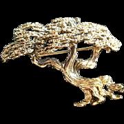 Tortolani Bonsai Tree Gold-tone Pin / Brooch