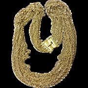 Trifari Gold Tone 15 Chain Necklace