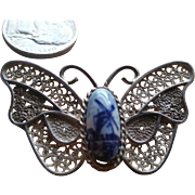 Delft Butterfly Porcelain & Silver Filigree