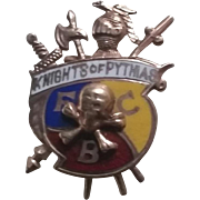 10k Gold enamel Knights Of Pythias pin