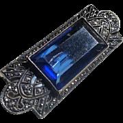 Art Deco Sterling Marcasite Blue Crystal Pin Brooch