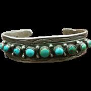 Harvey Era Row Bracelet Silver & Turquoise Coin