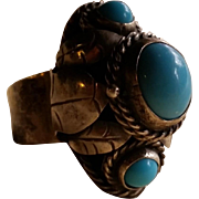Sterling Mexican Poison Ring 3 Aqua Stones