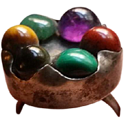 sz 11 Silver Ring Hand Made w/ 6 various stones Very Cool