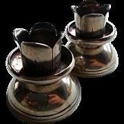 Pr. Candlestick Holders Spratling Sterling Silver w/ Rope Details