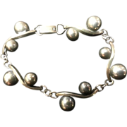 Modernist Toyokoki Silver Bracelet Semi Spheres & Waves