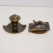 Cast metal inkwell and blotter set