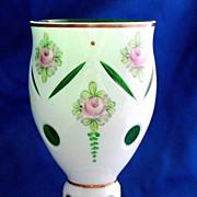 SALE Bohemian Czech white cut to green goblet