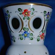 SALE Small Bohemian Czech white cut to green vase