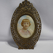 Hand painted signed miniature portrait – girl with pearls