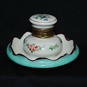 French china inkwell with spring loaded lid