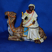 SALE Cold painted figural inkwell - camel with Arab