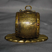 SALE Chinese brass inkwell shaped like a drum