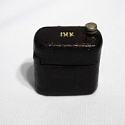 SALE Leather covered traveling inkwell