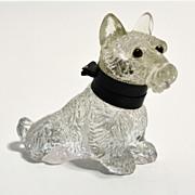 Glass Scottie Dog inkwell made in Czechoslovakia