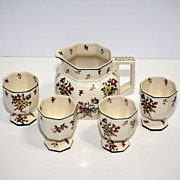 SALE Royal Doulton Old Leeds Spray Pitcher and Four Cups