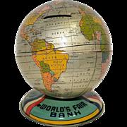 Chein 1939 New York World's Fair Globe Tin Bank- Difficult to Find