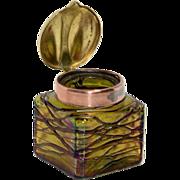 Iridescent Bohemian Threaded Glass Inkwell