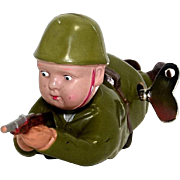 Made in Occupied Japan Celluloid Soldier Wind UP
