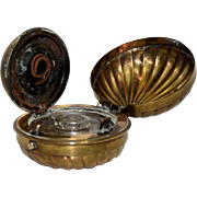 Brass Shell Shaped Traveling Inkwell