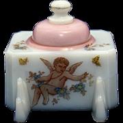 Nineteenth Century Milk Glass Inkstand with Cherub