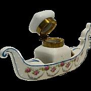 Porcelain Gondola Shaped Inkwell