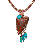 "Jasper, Turquoise, Copper Necklace: ""Desert Mystery"
