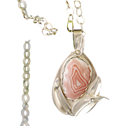 Silver and Porcelain Agate Necklace: Silver Blossom