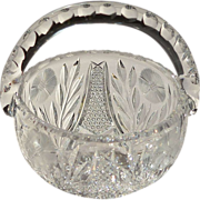 American Brilliant Cut Glass Basket with Corn Flower Design
