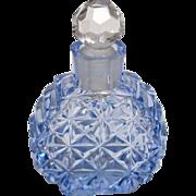 Czechoslovakia Cut Glass Mini Dresser Perfume Bottle – Blue