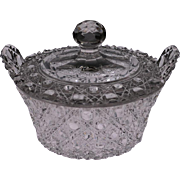 American Brilliant Cut Glass Butter Tub with Lid